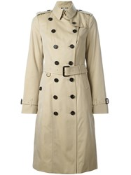 Burberry Double Breasted Belted Raincoat Nude And Neutrals