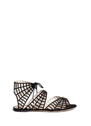 Charlotte Olympia 'Miss Muffet' Caged Suede Flat Sandals Black