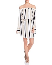Faithfull The Brand Naumi Off Shoulder Dress Retro Stripe