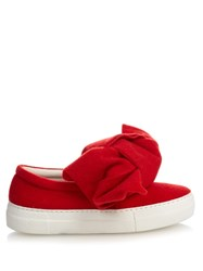 Joshua Sanders Felt Bow Slip On Platform Trainers Red