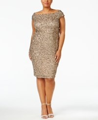 Adrianna Papell Plus Size Off The Shoulder Sequined Dress Antique Bronze