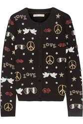 Alice Olivia Kym Embellished Stretch Wool Cardigan Black