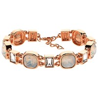 Finesse Cushion And Baguette Glass Crystal Bracelet Rose Gold
