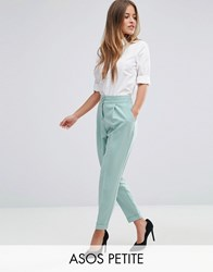 Asos Petite Tailored High Waisted Trousers With Turn Up Detail Dusty Mint Green