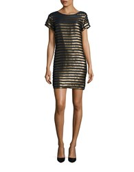 French Connection Sequin Embellished Dress Navy Gold