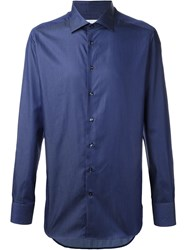 Etro Cuffed Fitted Button Down Shirt Blue