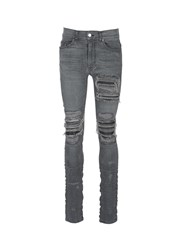 Amiri 'Mx1' Leather Patchwork Distressed Skinny Jeans Grey