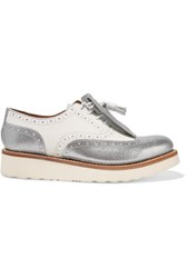 Grenson Emily Tassel Trimmed Leather Loafers Silver