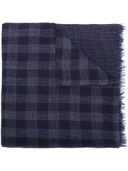 Woolrich Checked Scarf Blue