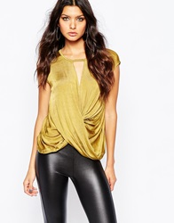 River Island Metallic Key Hole Drape Front Top Gold