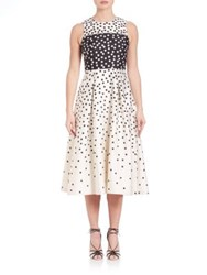 Lk Bennett Frankie Wool And Silk Polka Dot Dress Black Cream