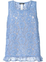 Twin Set Floral Lace Tank Top Blue