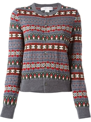 Comme Des Garcons Shirt Fair Isle Cardigan Grey
