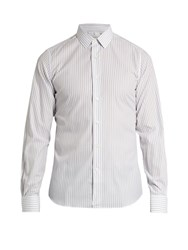 Valentino Single Cuff Striped Cotton Shirt Grey White