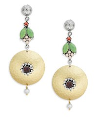 Gerard Yosca Floral Disc Drop Earrings Green