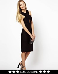 Lashes Of London Midi Dress With Cross Front Black