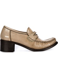 Silvano Sassetti Chunky Heel Penny Loafers Nude And Neutrals