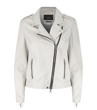 Set Fringed Leather Jacket Female Ivory