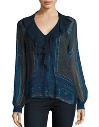 Kobi Halperin Patterned Silk Blouse Ink Multi