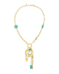 Greenbeads By Emily And Ashley Golden Charm Heart Necklace Turquoise