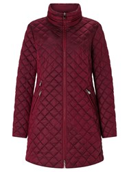 Gerry Weber Diamond Quilted Coat Burgundy