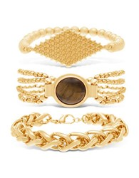 Steve Madden Multi Chain Brown Stone And Textured Center Plate Bracelet Set 3 Piece Gold