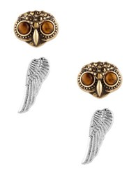 Lucky Brand Owl And Wing Stud Earrings Set Two Tone