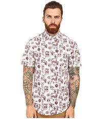 Original Penguin Short Sleeve 3D Print Woven Bright White Men's Short Sleeve Button Up