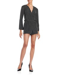 Design Lab Lord And Taylor Metallic Knit Romper Silver