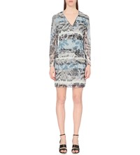 Reiss Valetta Printed Chiffon Dress Multi Blue