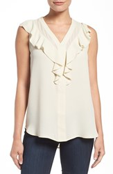 Pleione Women's Ruffle V Neck Sleeveless Blouse Eggshell