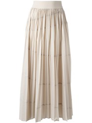 Dkny Pleated Maxi Skirt Nude Neutrals