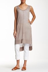 Cullen Exposed Seam Hi Lo Linen Blend Tunic Beige
