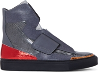 Raf Simons Sterling Ruby Grey And Red Snakeskin Paneled Sneakers