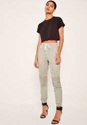 Missguided Faux Suede Biker Knee Joggers Grey