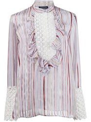 Giambattista Valli Striped Ruffled Blouse Pink And Purple