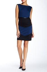 Vfish Boatneck Faux Leather Trim Ponte Dress Blue