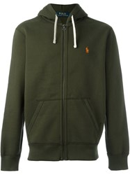 Polo Ralph Lauren Logo Embroidered Zip Hoodie Green