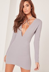 Missguided Grey Tie Neck Plunge Long Sleeve Bodycon Dress
