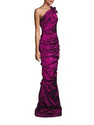 Rickie Freeman For Teri Jon One Shoulder Ruched Gown Raspberry