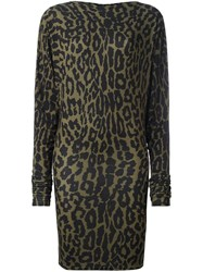 Alexandre Vauthier Leopard Print Dress Green