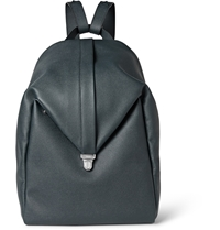 Valextra Pebbled Leather Backpack Blue