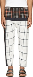3.1 Phillip Lim White And Navy Quilted Plaid Lounge Pants