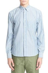 Umit Benan Trim Fit Stripe Oxford Shirt Blue