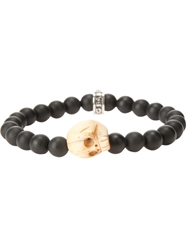 King Baby Studio King Baby Skull Charm Beaded Bracelet Black
