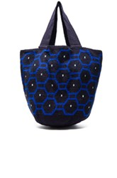 Sophie Anderson Jonas Octo Tote In Blue Geometric Print Blue Geometric Print