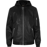 River Island Mens Black Leather Look Hooded Jacket