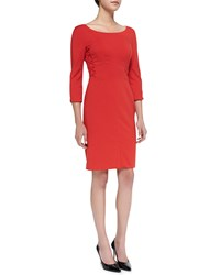 Rena Lange 3 4 Sleeve Crisscross Detail Sheath Dress Women's