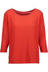 Majestic Cotton And Cashmere Blend Top Tomato Red