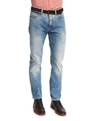 Ermenegildo Zegna Slim Fit Light Wash Lux Denim Jeans Blue